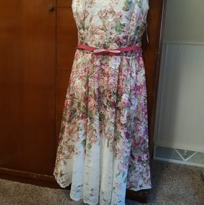 danny and nicole White Lace Floral Dress size 12